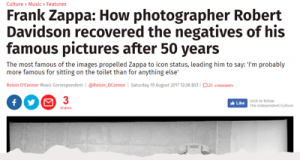 Frank Zappa: How photographer Robert Davidson recovered the negatives of his famous pictures after 50 years