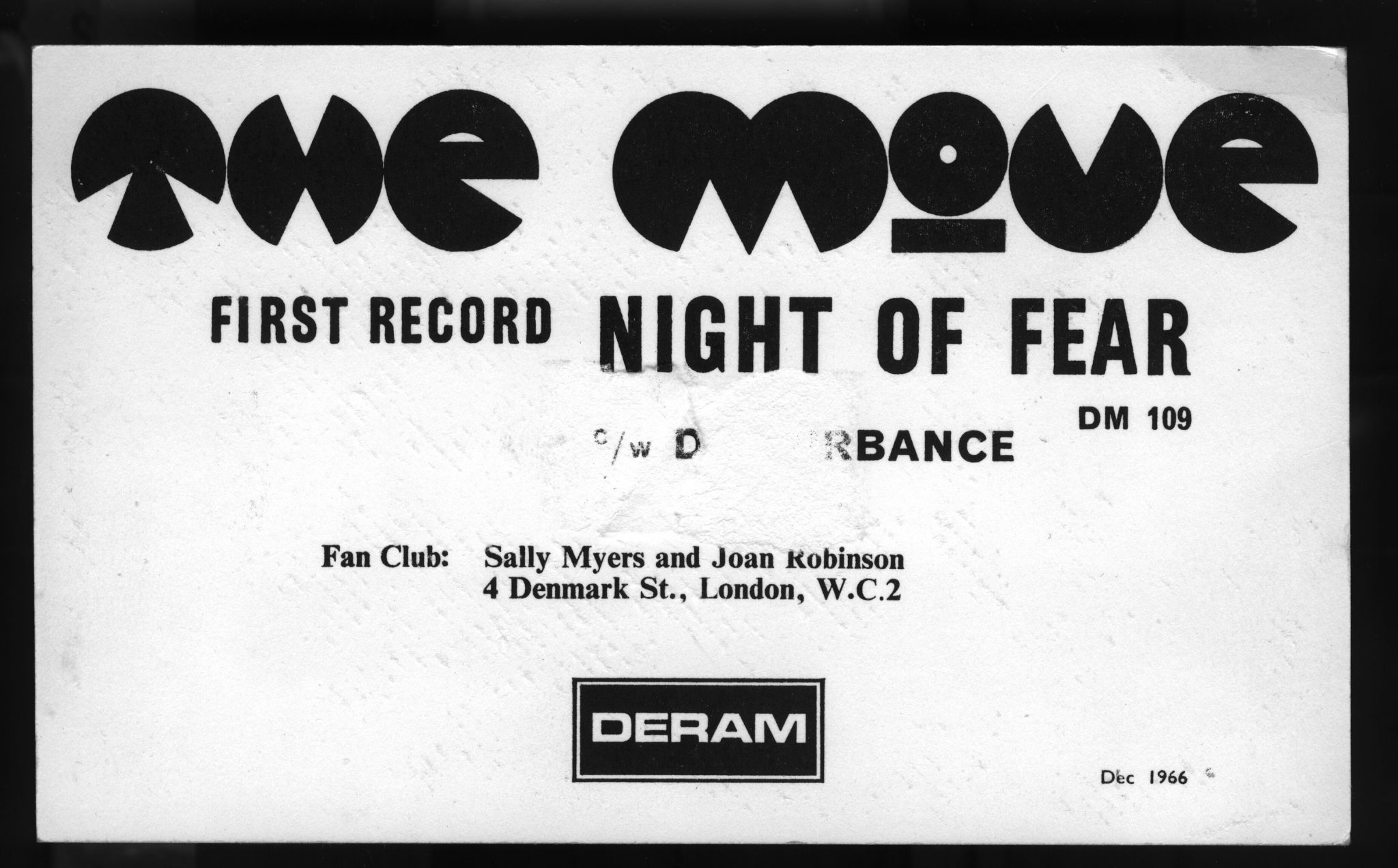 The Move first record 'Night of Fear' postcard