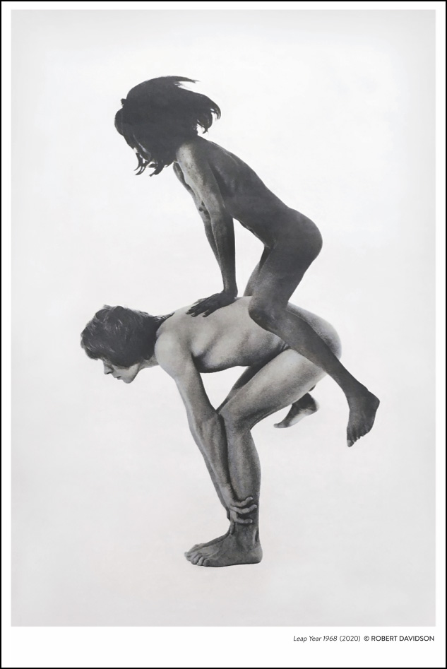 Woman leapfrogs over man